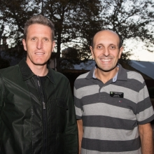 Michael Piu, St. Pat's CEO with then MP Josh Wilson at Sleep Out Under the Stars